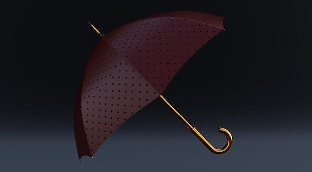 3d-darstellung aus leder und goldregenschirm auf schwarzem hintergrund isoliert