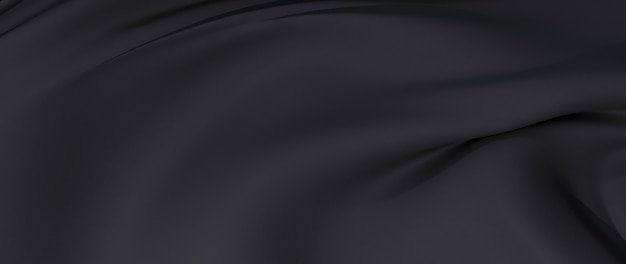 3d-darstellung aus schwarzem stoff. schillernde holografische folie. abstrakte kunst mode hintergrund.
