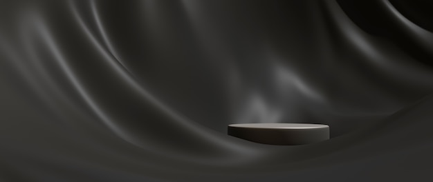 3d-darstellung aus schwarzem stoff und podium. modehintergrund der abstrakten kunst. bühnenbühnenschaufenster, produkt, präsentation, kosmetik auf dem podium.