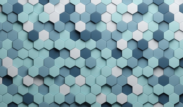 3d-darstellung blaue zusammenfassung. geprägtes sechseck, wabenschatten