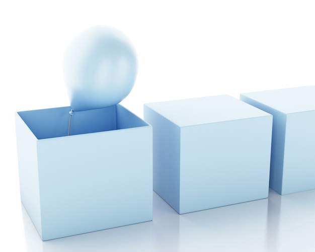 3d darstellung. box mit ballon außerhalb der box. aus dem boxenkonzept heraus denken.