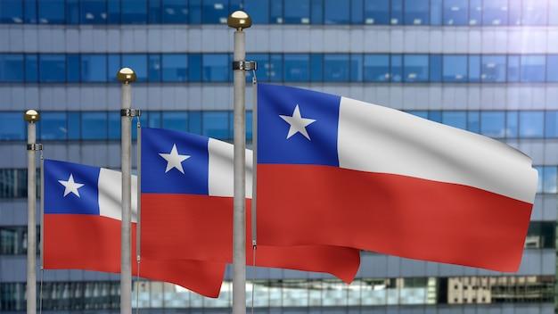 3d-darstellung chilenische fahnenschwingen in einer modernen wolkenkratzerstadt. schöner hoher turm mit chile-banner, der glatte seide durchbrennt. stoff textur fähnrich hintergrund. nationalfeiertag und länderkonzept.