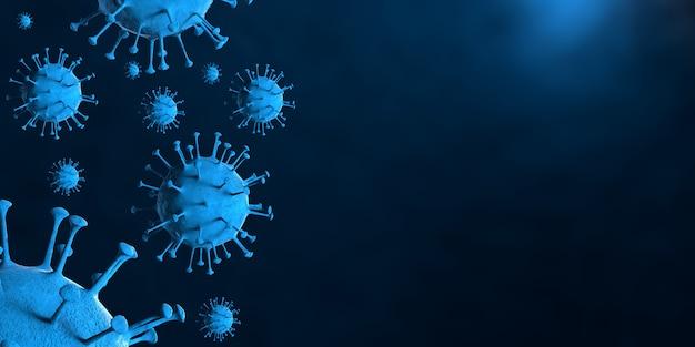 3d-darstellung coronavirus covid-19-virus unter dem mikroskop in der blutprobe