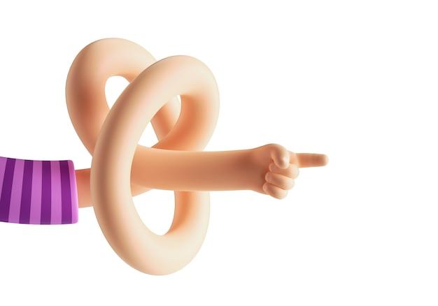 3d-darstellung der abstrakten cartoon-figur flexible verknotete hand isoliert auf weißem hintergrund