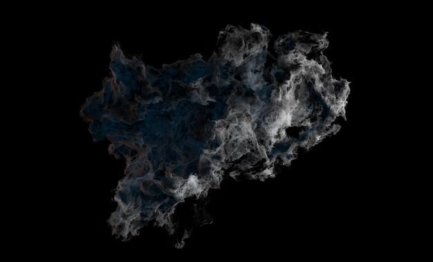 3d-darstellung der abstrakten explosionsform mit rauch und blauer emission auf schwarzem hintergrund.