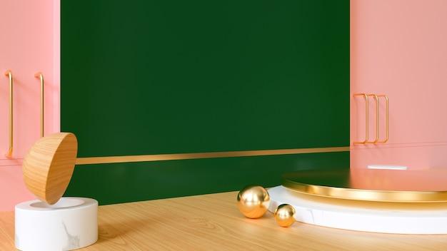 3d-darstellung der abstrakten geometrischen mit marmorpodest für produktanzeige