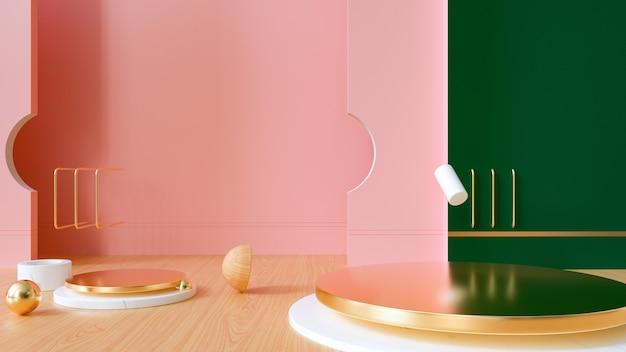 3d-darstellung der abstrakten geometrischen mit marmorpodest für produktanzeige Premium Fotos