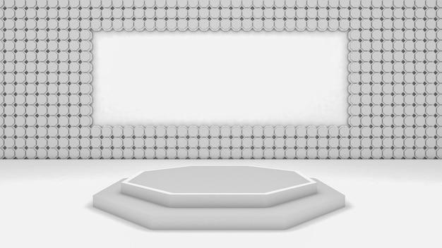 3d-darstellung der abstrakten sechseckform und des podiums für showprodukt