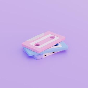 3d-darstellung der alten kassette des einfachen objekts