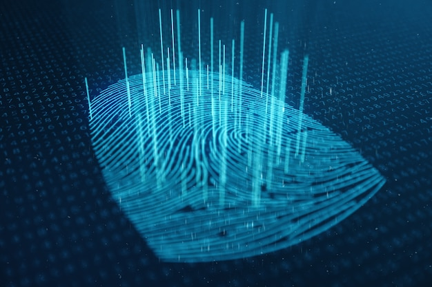 3d-darstellung der fingerabdruckscan bietet einen sicherheitszugriff mit der identifizierung von biometrien