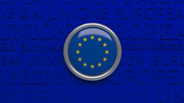 3d-darstellung der flagge der europäischen union