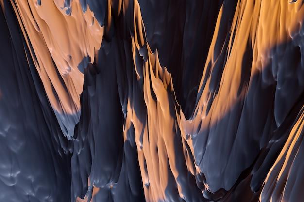 3d-darstellung der geometrischen braunen felsen, berge abstrakter scharfer hintergrund. luxuriöses hintergrunddesign