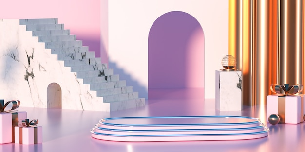 3d-darstellung der geometrischen form der abstrakten szene mit podium und treppe