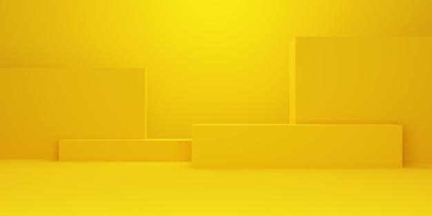 3d-darstellung der geometrischen form des leeren minimalen konzepthintergrundhintergrunds des leeren gelbgold. szene für werbung