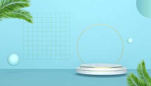 3d-darstellung der geometrischen form mit kreisförmigem sockel für produktanzeige