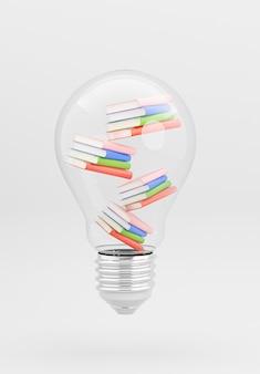 3d-darstellung der glühbirne mit buchstapelung für bildungskonzept