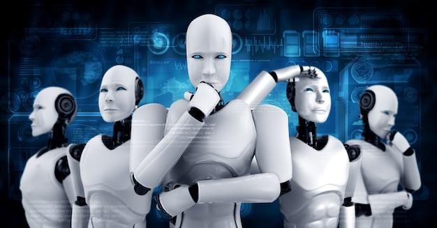 3d-darstellung der humanoiden robotergruppe