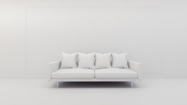 3d-darstellung der innenarchitektur des wohnzimmers, des sofas und des kissens, modell auf weißem bildschirm