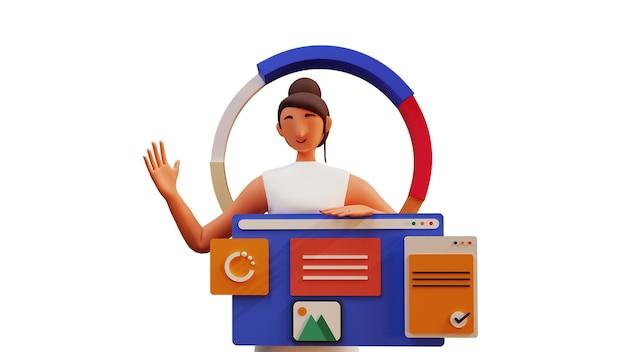 3d-darstellung der jungen frau, die analytics-website auf weißem hintergrund präsentiert.