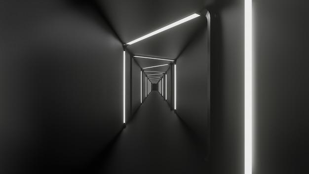 3d-darstellung der korridorfinion weißer schwarzer abstrakter hintergrund