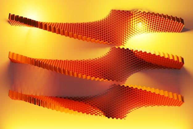 3d-darstellung der monochromen wabe der gelben wabe für honig einer ungewöhnlichen form.