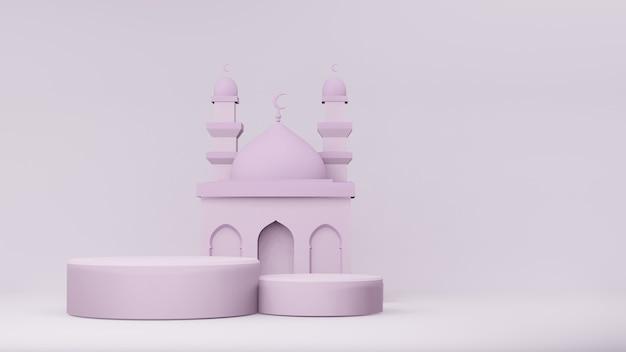 3d-darstellung der moschee mit podien