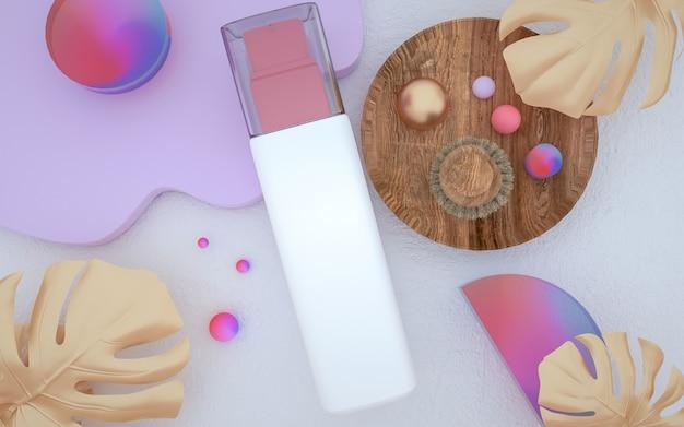 3d-darstellung der parfümflasche mit abstraktem geometrischem hintergrund