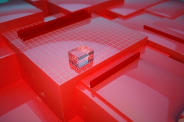 3d-darstellung der roten gestelle, auf denen das glasrechteckmodell liegt. glasbaustein, 3d-objekt auf rotem grund. 3d-grafik
