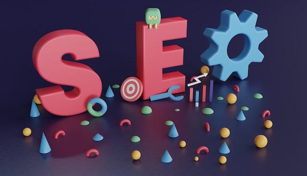 3d-darstellung der seo-analyse für die suchmaschinenoptimierung von bannern und websites