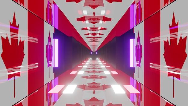 3d-darstellung des abstrakten 4k-uhd-hintergrunds des hellen tunnels im stil der kanadischen flagge mit neonbeleuchtung