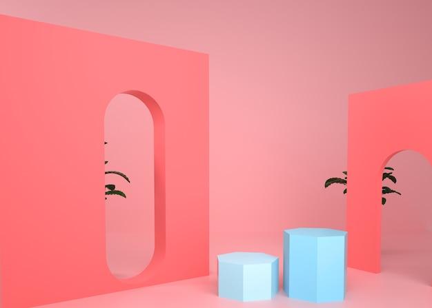3d-darstellung des abstrakten geometrischen hintergrunds mit fünfeck-sockel für produktanzeige