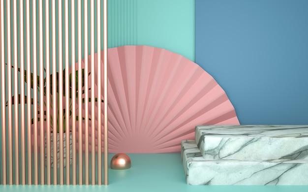 3d-darstellung des abstrakten geometrischen hintergrunds mit marmorsockel für produktanzeige