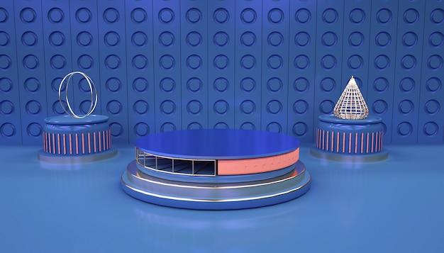 3d-darstellung des abstrakten geometrischen hintergrunds mit podium für produktanzeige