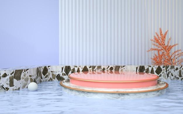 3d-darstellung des abstrakten geometrischen hintergrunds mit rundem podium auf dem wasser für kosmetisches produkt