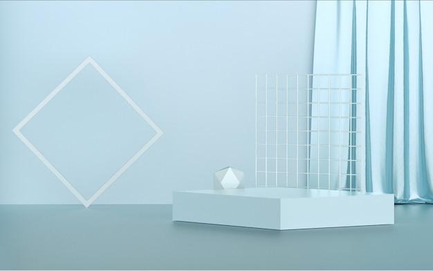 3d-darstellung des abstrakten hintergrunds mit einfachem podium für produktanzeige
