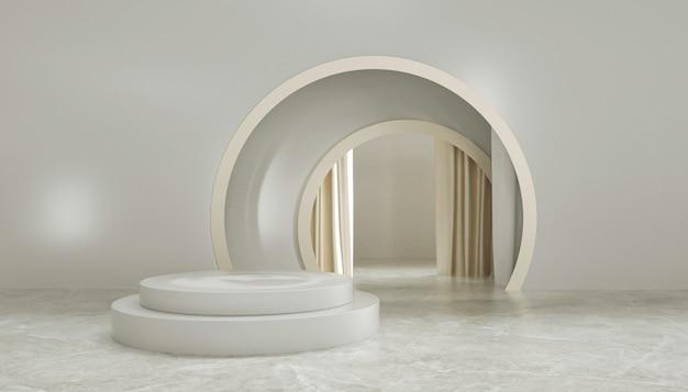 3d-darstellung des abstrakten hintergrunds mit rundem podium für produktanzeige