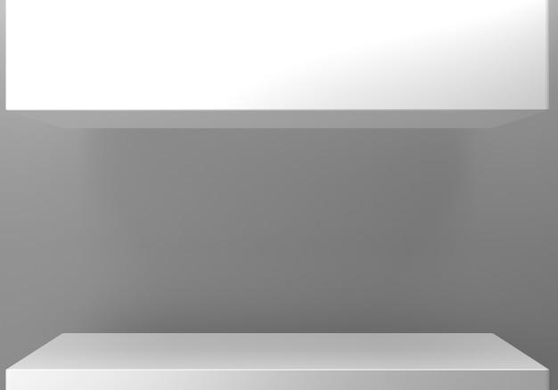 3d-darstellung des abstrakten minimalen hintergrunds des leeren grauen podiums.