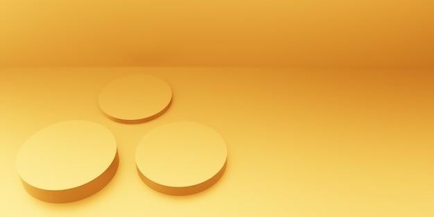 3d-darstellung des abstrakten minimalen hintergrunds des leeren podiumgoldes. szene für werbedesign