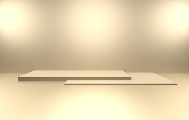 3d-darstellung des abstrakten minimalen konzepthintergrunds des leeren goldes