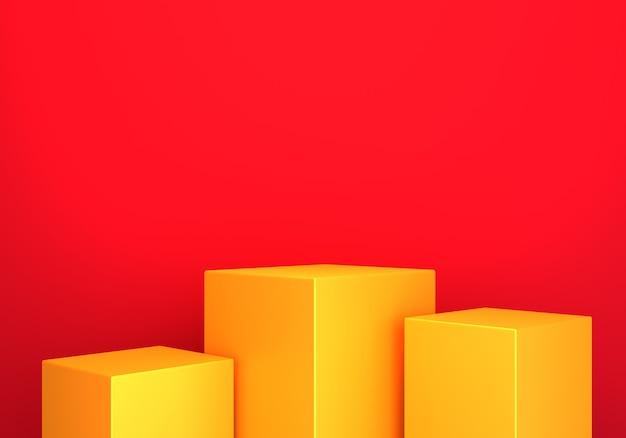 3d-darstellung des abstrakten minimalen roten hintergrunds des leeren goldpodestabstrakten.