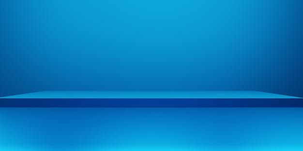 3d-darstellung des abstrakten minimalkonzepts des leeren podiumsblauen abstrakten