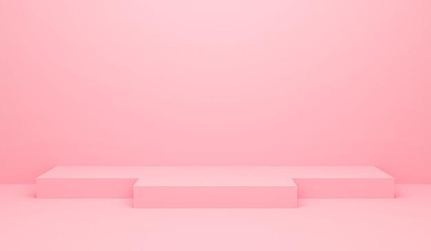 3d-darstellung des abstrakten pastellpodiumbanners mit rosa hintergrund