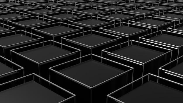 3d-darstellung des abstrakten schwarzen geometrischen hintergrunds