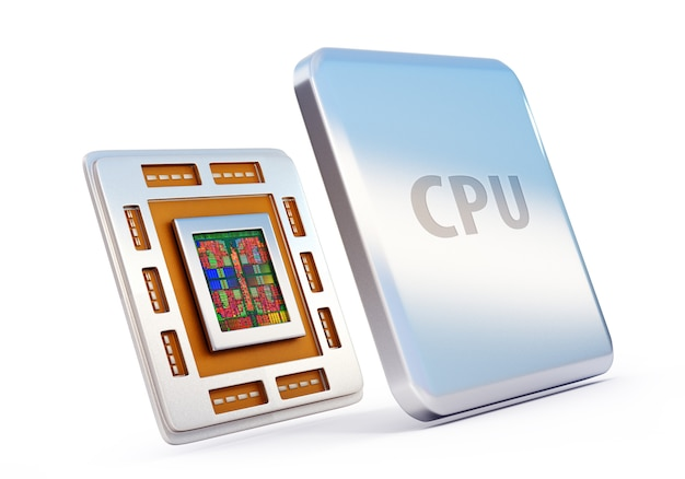 3d-darstellung des computer-cpu-chips (zentralprozessoreinheit)