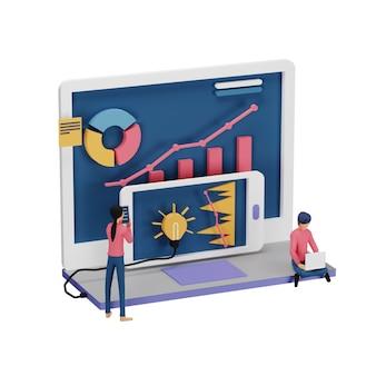 3d-darstellung des digitalen marketingstrategiekonzepts mit winzigen menschencharakter, tabelle, grafischem objekt auf dem computerbildschirm. online-social-media-marketing modern für zielseiten- und mobile website-vorlage
