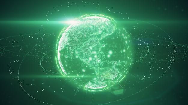 3d-darstellung des digitalen planeten mit der übertragung von daten