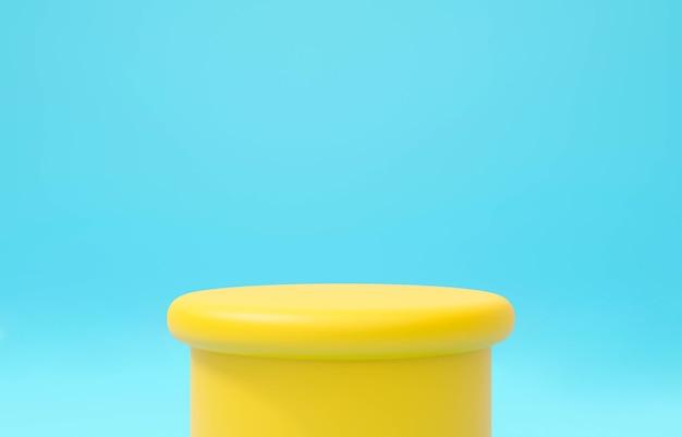 3d-darstellung des gelben bühnenpodests auf blauem hintergrund abstrakt.