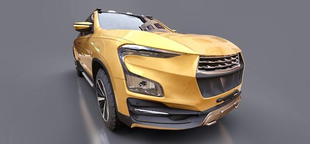 3d-darstellung des gelben konzeptfracht-pickup-trucks auf grauem lokalisiertem hintergrund. 3d-rendering.