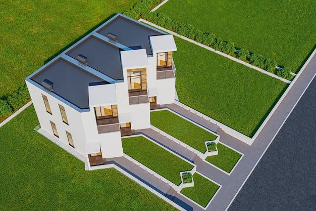 3d-darstellung des gemütlichen kleinen hauses des modernen hellen stadthauses zum verkauf oder zur miete mit viel gras auf rasen