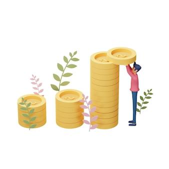 3d-darstellung des geschäftsinvestitionskonzepts